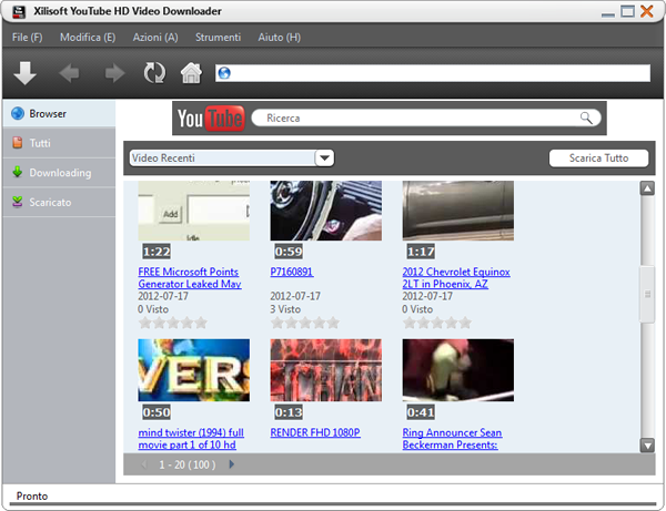 YouTube HD Video Downloader Pagina iniziale